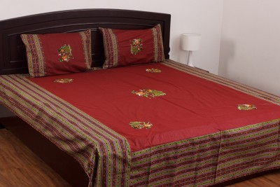 Kismat Collection Cotton Abstract Double Bedsheet