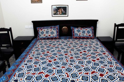Halowishes Cotton Checkered Double Bedsheet