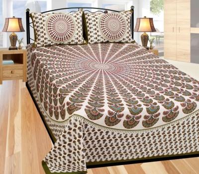 JaiTulsi Cotton Self Design King sized Double Bedsheet