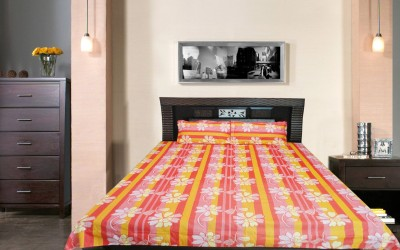 Wow-But-How Cotton Striped Double Bedsheet
