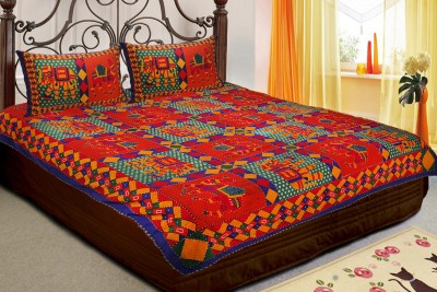 Jaipur Fabric Cotton Embroidered Double Bedsheet
