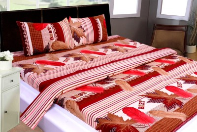 THOIDAM Polycotton 3D Printed Double Bedsheet