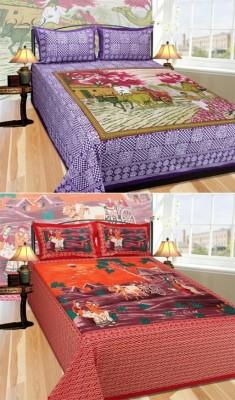 ShopSince Cotton Self Design King sized Double Bedsheet