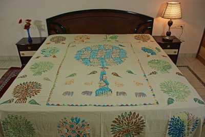 Smile2u Retailers Cotton Embroidered King sized Double Bedsheet