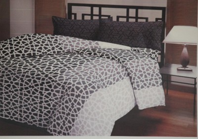 Encore Lifestyle Cotton Abstract Double Bedsheet(1 Bedsheet, 2 Pillow Covers, Grey)