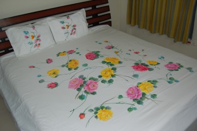 Bizibee Cotton Self Design King sized Double Bedsheet