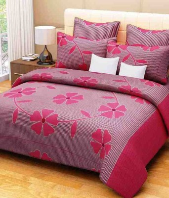 Floorify Cotton Floral Double Bedsheet