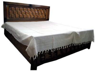 Baba Handicraft Cotton Linen Blend Striped Double Bedsheet