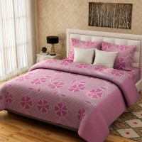 Desi Connection Cotton Printed Double Bedsheet(1 Double Bed Sheet, 2 Pillow Cover, Pink) best price on Flipkart @ Rs. 599