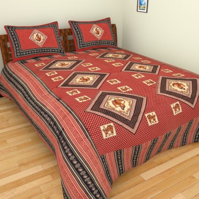 The Handloom Store Cotton Printed King sized Double Bedsheet