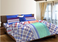 Home Expressions USA Cotton Printed Single Bedsheet(1 Bedsheet, 1 Pillow Cover, Blue, White)