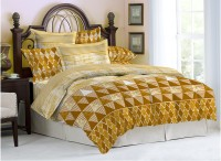 Bombay Dyeing Cotton Printed Double Bedsheet(1 Bedsheet, 2 Pillow Covers, Yellow, Brown)