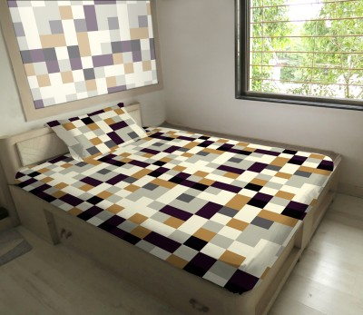 Hemlines Polyester Checkered Single Bedsheet