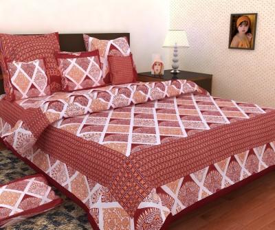Mashhoorindia Cotton Geometric Double Bedsheet