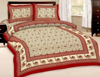 Uniqchoice Cotton Floral Double Bedsheet(1 Double bedsheet 2 pillow cover, Red)