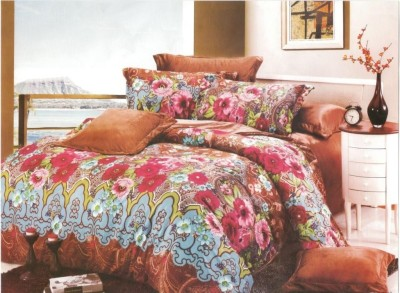 Amethyst Polyester Floral Double Bedsheet