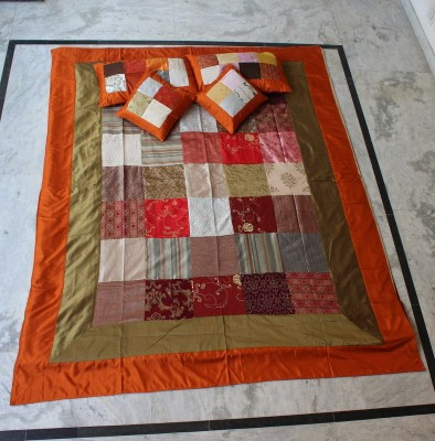 Handicrafttopinkcity Silk Checkered Double Bedsheet