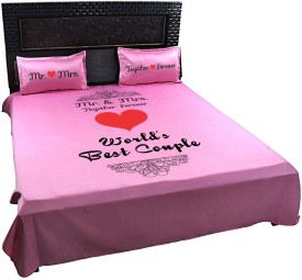 Giftsmate Polycotton Printed King sized Double Bedsheet(1 Bed Sheet, 2 Pillow Covers, Pink)
