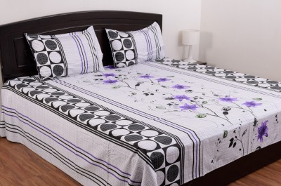 Blue Mist Cotton Abstract King sized Double Bedsheet