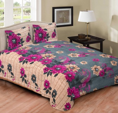 Tripods Fashion Cotton Printed Double Bedsheet(1 bed sheet and 2 pillow coverts, Multicolor)