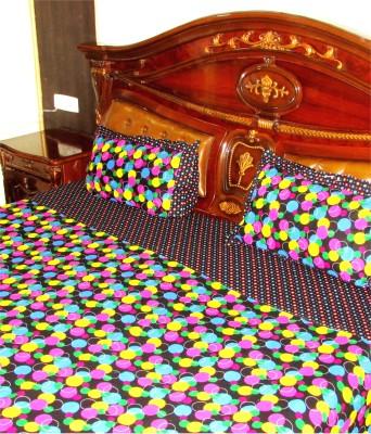 Designz Cotton Linen Blend Polka Double Bedsheet