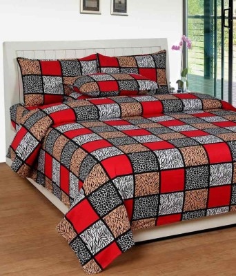 The Intellect Bazaar Cotton Checkered King sized Double Bedsheet