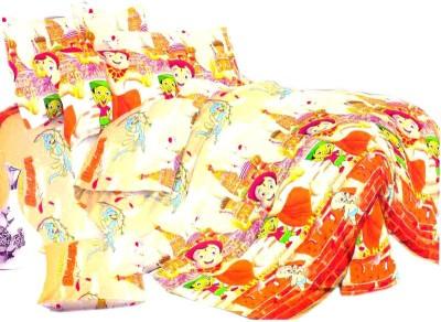 SKYTEX Cotton Cartoon Double Bedsheet