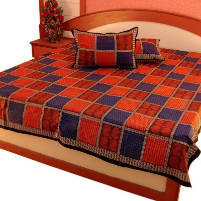 Bagru Crafts Cotton Striped Double Bedsheet
