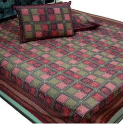 shoppingtara Cotton Checkered Double Bedsheet