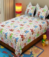 Handloom Times Cotton Animal Double Bedsheet(1 Double Bed Sheet with 2 Pillow covers, Multicolor)