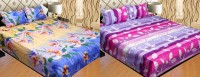 Furhome Polycotton Abstract Double Bedsheet(2 BED SHEET 4 PILLOW COVERS, Multicolor)