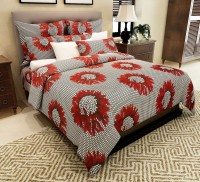 Home Candy Cotton Floral Double Bedsheet(1 Double Bedsheet, 2 Pillow Covers, Red)