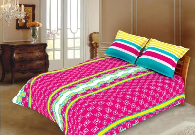 Blush Cotton Checkered King sized Double Bedsheet