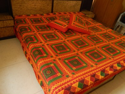 RK Raag Rang Cotton Embroidered King sized Double Bedsheet