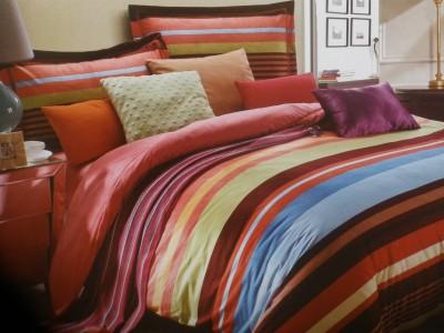 Vg store Velvet Striped Double Bedsheet