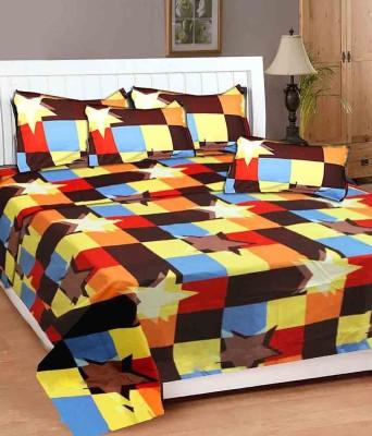 MEHAR HOME Cotton 3D Printed Double Bedsheet