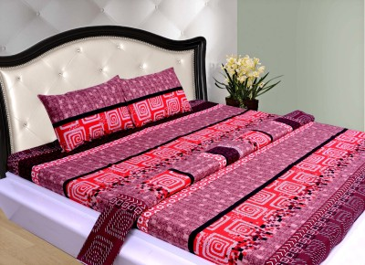THOIDAM Polycotton Geometric Double Bedsheet