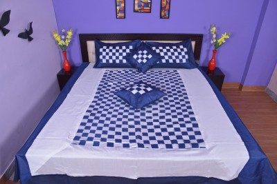 Calypso Silk Checkered Double Bedsheet