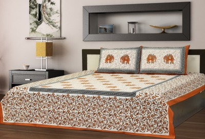 SAANKHYA Cotton Printed Double Bedsheet