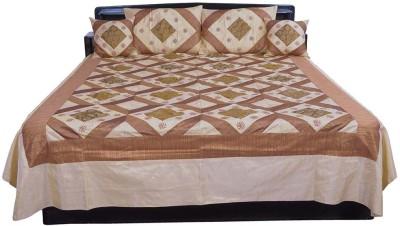 Shilpbazaar Silk Double Bed Cover(Multicolor, 1 Double Bedcover, 2 Cushion Covers, 2 Pillow Covers)