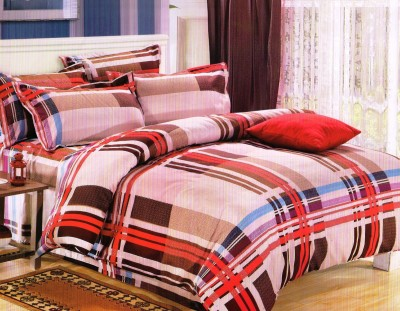 Rose Petal Polyester Striped Double Bedsheet
