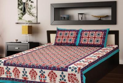Mee Pra Cotton Floral Double Bedsheet