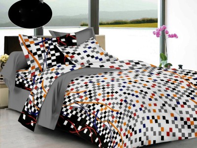LISSOME Cotton Checkered King sized Double Bedsheet