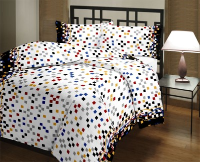 PrintStar Cotton Checkered Double Bedsheet