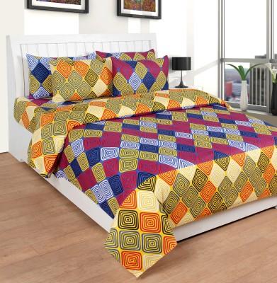 Saluja Enterprises Cotton Checkered King sized Double Bedsheet