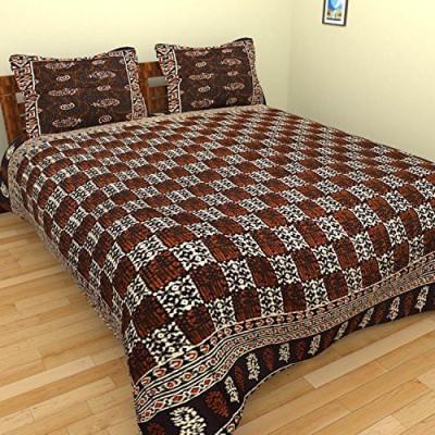 Rajkruti Cotton Checkered King sized Double Bedsheet