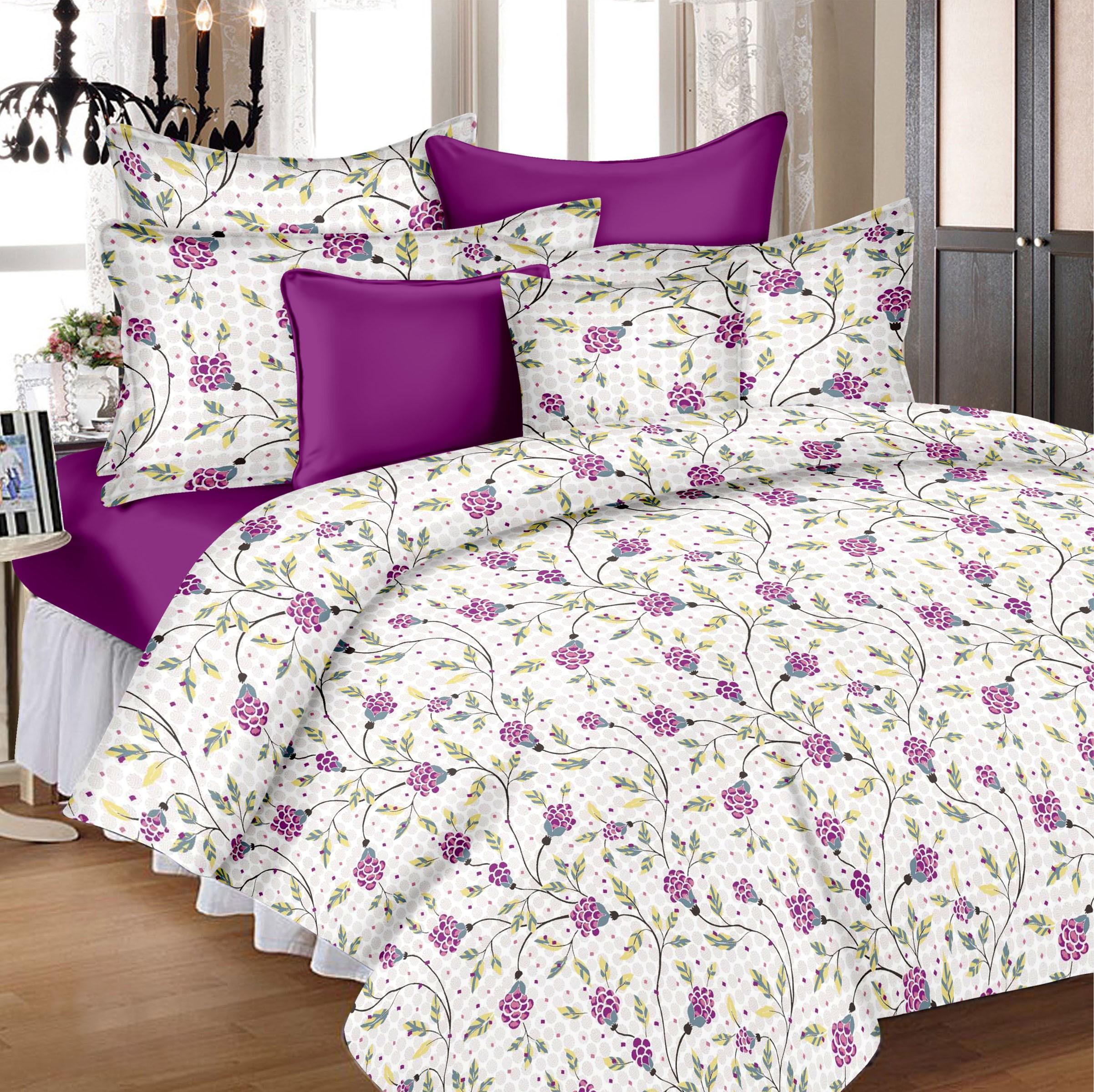 Flipkart SmartBuy Cotton Floral Double Bedsheet(1 BEDSHEETS AND 2 PILLOW COVER, Multicolor)