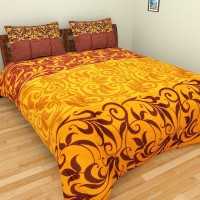 Bichauna Odele by Creative Portico Cotton Silk Blend Printed Double Bedsheet(1 Double Bed Sheet with 2 Pillow Covers, Yellow, Brown, Red) best price on Flipkart @ Rs. 1249