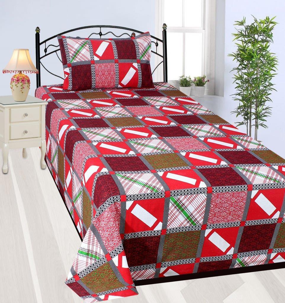 Zain Cotton Checkered Single Bedsheet(1 SINGLE BED SHEET, 1 PILLOW COVER, MULTICOLOUR)