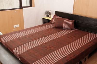 JMD Polycotton Striped Double Bedsheet